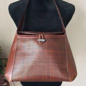 BALLY Handbag Brown Woven Leather